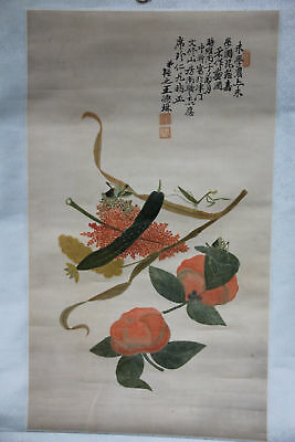 Chinese Antique Painting Scroll With Insect