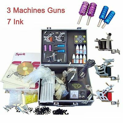 Tätowierung Komplett Tattoo Kit Set 3 Tattoomaschine 7 inks Koffer 50 Nadeln DHL