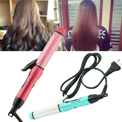 Professional 2 in 1 Curler & Straightener Hot Hair Iron Curling Ceramic Wave USA