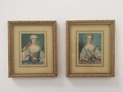 Pair Of 1940's Vintage Miniature Florentine Framed Portrait Prints Made In Italy