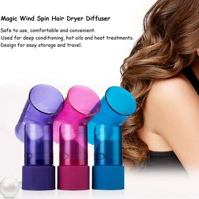 Beauty Hair Dryer Diffuser Magic Wind Spin Curl Hair Roller Curler Maker Tool US