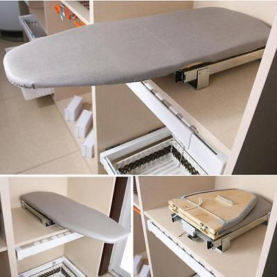 Foldable Pull Out Slide Rotary Ironing Board Swivel Wardrobe Drawer Grey Silding