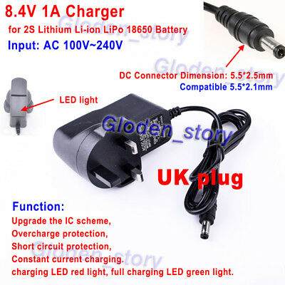 2S 7.4V 8.4V 1A AC/DC UK Charger Adapter for 18650 Lithium Li-ion Battery Cells