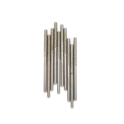 10Pcs cylindrical Diamond Coated Grinding Head Rods For Rotary Tools 3MM Shank