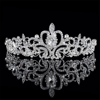 Bridal Princess Hair Tiara Crown Crystal Austrian Veil Headband Prom Wedding