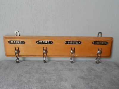 French Vintage Wood TOWEL RACK  HOLDER w/ 4 metal labels & hooks