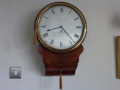 Superb Early Brass  Silvered Drop Dial Fusee Wall Clock In Mahogany  C1810-15