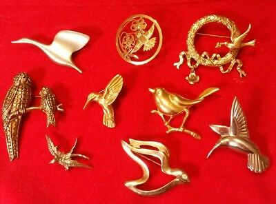 VINTAGE Retro Lot of 9 MIXED Species METAL BIRD Pins BROOCHES