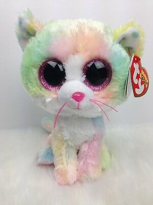 """6"""" Ty Beanie Boo Fluffy the Cat Claire's Exclusive BNWT"""