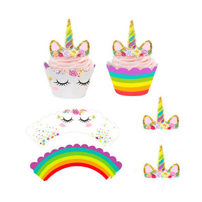 12 pcs Cute Rainbow Unicorn Cupcake Wrappers Toppers Cake Flags Party Supplies