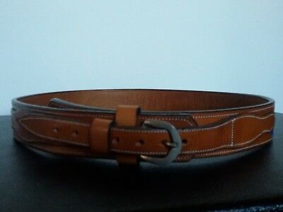 Cintura Vintage In Cuoio Made In Mexico Cowboy Western Leather Belt