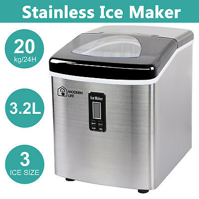 Ice Cube Maker Machine Electric Stainless Steel Commercial Table top 20 kg/ day