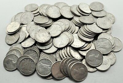 Lot of 150 Canadian Circulated 80% Silver Ten Cent Coins 1940-1966 Dimes (#1063)