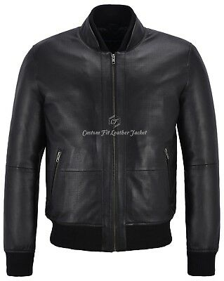 Mens Leather Jacket Black Perforated Genuine Leather Pilot Aviator Jacket 4348