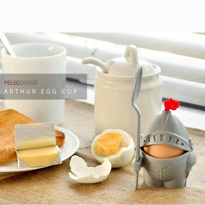 Detachable Boiled Egg Cup Holder Storage Knight Shaped w/ Eating Spoon Kitchen