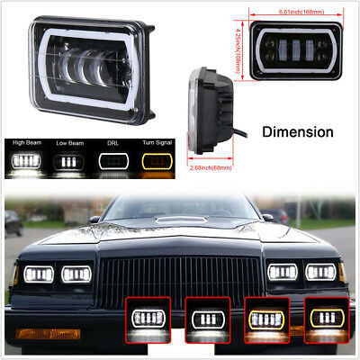 "4X6"" LED Reflector Sealed Replacement High/Low Beam+DRL Car Headlight Waterproof"