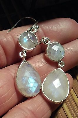 Faceted huge moonstone drop earrings ~ sterling silver