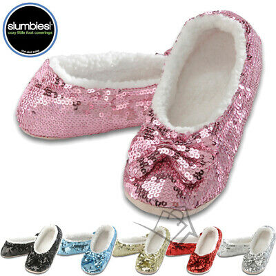 NEW Slumbies Classic Bling Sparkle Slippers Ballerina Sequin Jiffies Cosy
