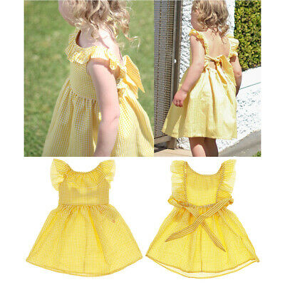 Kid Baby Girls Summer Floral Party Pageant Tutu Dress Ruffle Backless Sundress