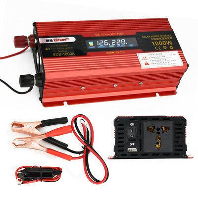 1000W DC 12V to AC 110V Modified Pure Sine Wave Power Inverter Household LED gh4