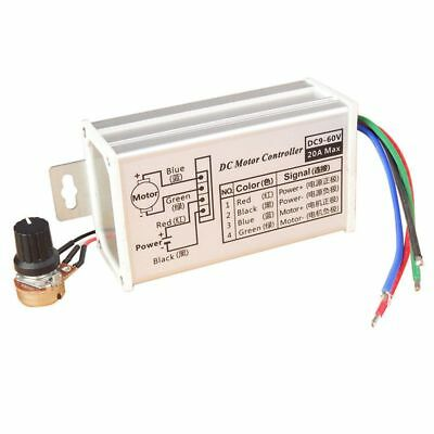 12V 24V Max 20A PWM DC Motor Stepless Variable Speed Control Controller Swi W5K5