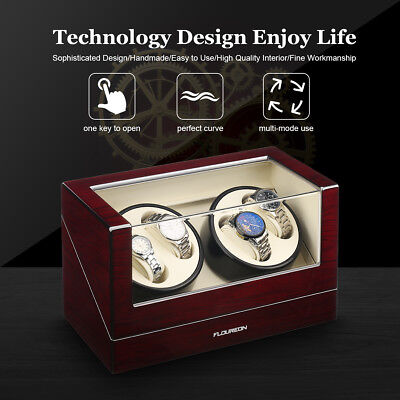 UK Automatic Rotating Watch Winder Luxury Storage Display Box Case For 4 Watches