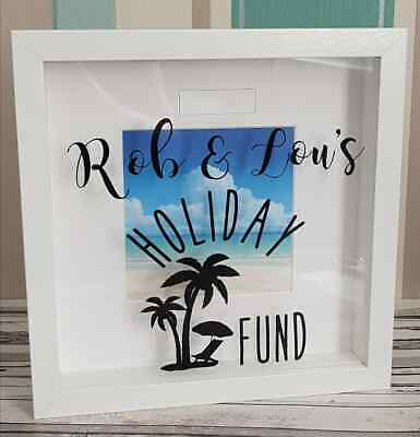 Personalised Holiday Fund adventure fund savings money box frame gift vinyl
