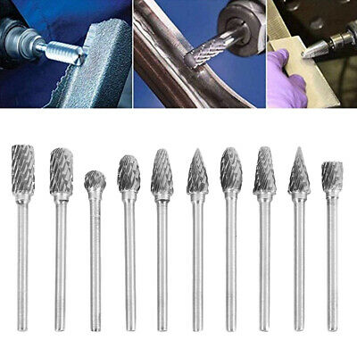 10x Tungsten Carbide Burrs For Dremel Rotary Tool Drill Die Grinder Carving Bit