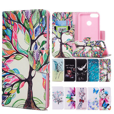 Cute Bear Flower Patterned PU Leather Wallet Case Cover For Huawei P20 Lite P20
