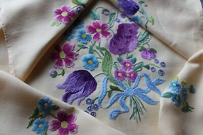 Stunning Vintage Hand Embroidered Flower Bouquet Linen Tablecloth Bright Colours