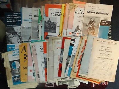 COLLECTION OF 66 x MOTOCROSS SCRAMBLE PROGRAMMES 1950's & 60's - POOR CONDITION