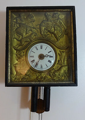 Antique Black Forest Wall Alarm Clock with great frame