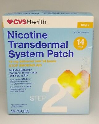 CVS Health Nicotine Transdermal System Patch Stop Smokin 14mg 14 patches 01/2019