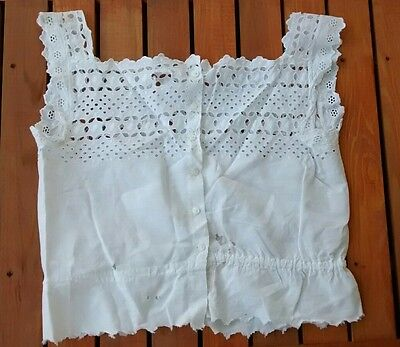Antique Edwardian Victorian Cotton White Eyelet Corset Cover Camisole Underwear