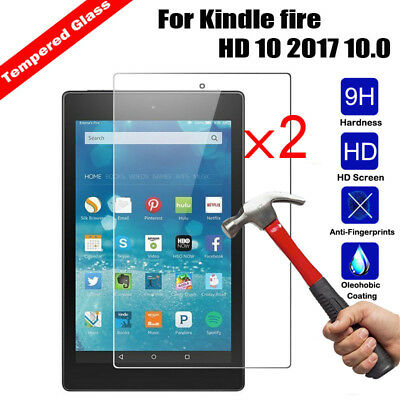 2x Genuine Tempered Glass Screen Protector For Kindle Fire HD 7 8 HD 10 Tablet
