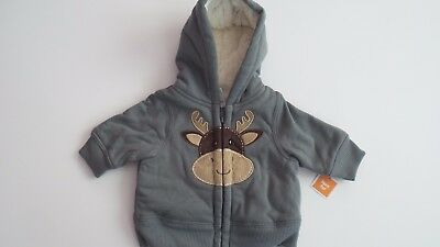 Baby boys size 0000 sherpa lined winter hoodie Brand New