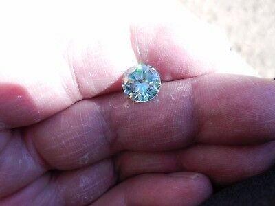 Fiery 3.13 ct Greenish Sky Blue Color Round Loose Moissanite VVS1 9.75 mm