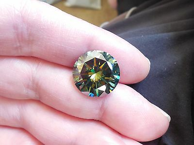 Fiery 11.62 ct Greenish Blue Color Round Loose Moissanite VVS2 15.09 mm