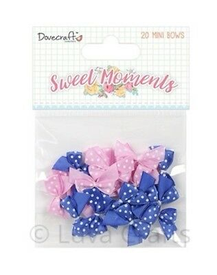 Dovecraft Sweet Moments Blue & Pink Mini Bows - Pack of 20x