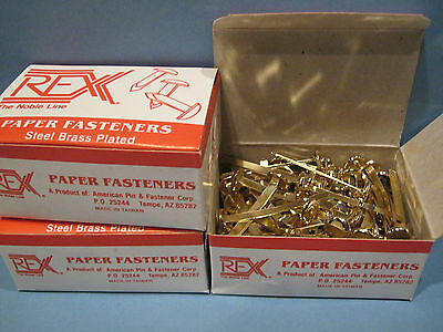 "300 pcs Rex Paper Fasteners 2"" Office School Steel Brass Plated 3 Boxes Size 7"