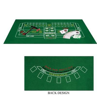 Blackjack & Craps Set Casino Party Games Night Double Sided Felt 2 Games In 1