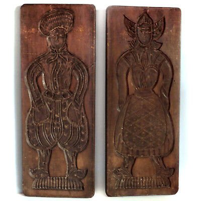 """BIG 20"""" Tall, Antique, Dutch Hand Carved """"Speculaas"""" Cookie Molds"""