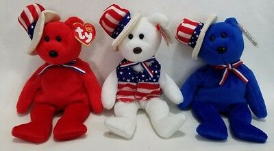 TY Beanie Babies Lot of 3 SAM RED WHITE & BLUE MINT CONDITION
