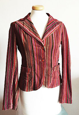 Vintage Style Jacket Mariella Burani  Tailored Striped Velvet Made in Italy