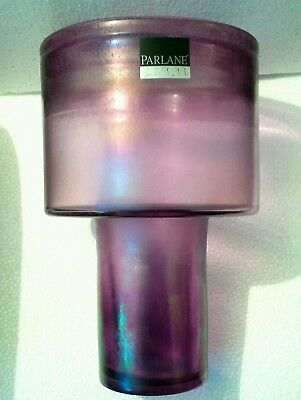 PARLANE Art Glass VASE Purple iridescent £69.99 heavy 30cms tall
