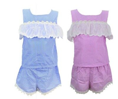 Girls Kids Pink & Blue Short Set Outfits Lace Top 2 Piece Set Ages 4 to 14 Years