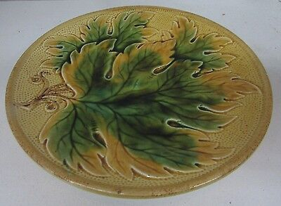 Antique Majolica Pottery Embossed Grape Leaf Plate