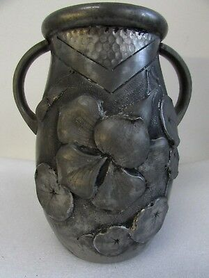 Antique French Pewter Spelter Art Nouveau Embossed Lilly Cortesi Vase Urn
