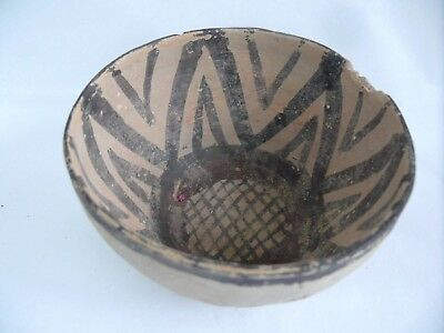Antique Pottery Aztec Pattern Columbian Hand Painted Terracotta Bowl