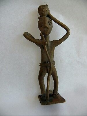 Antique African Bronze Statue Gold Weight Man Walking Stick Carrying Bowl Figure